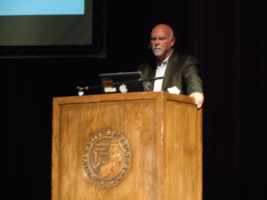 J. Craig Venter gives a lecture on synthetic life at the Macky Auditorium on September 29, 2014.