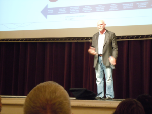 J. Craig Venter answers questions after his lecture at the Macky Auditorium on September 29, 2014.