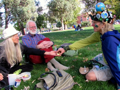 Stele having lunch in Boulder's central park with Bonnie Sundance (left) and Harry Albert (center) after the farmer's market Saturday, Oct. 4. Sundance and Albert run the nonprofit Our Sacred Earth.