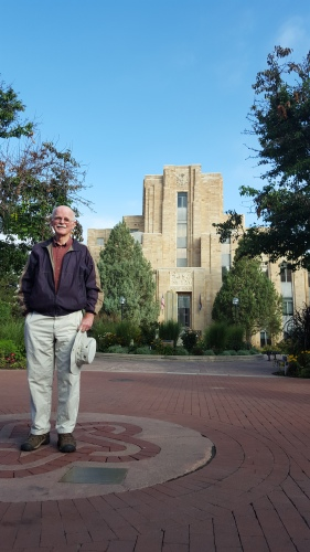 Don McDonald stands in front of the Boulder County Courthouse in the exact location he hopes to erect a monument to honor Boulder's Nobel Laureates.
