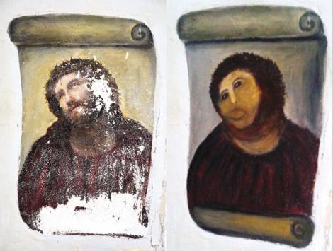 "The 20th-century ""Ecce Homo""-style fresco of Christ in a church in Borja, Spain, before (left) and after (right) elderly amateur artist Celia Gimenez attempted to restore it in 2012. (Centro de estudios Borjanos / Associated Press)"