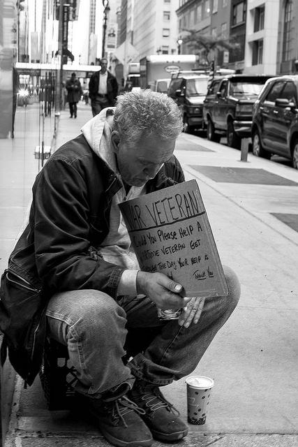 Homeless veteran. Source: Theodore Lee, flickr.
